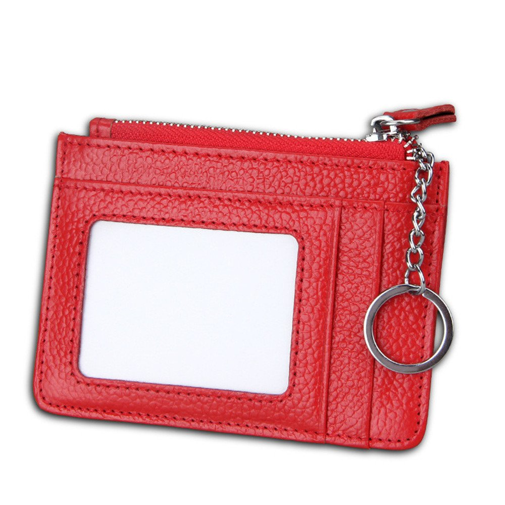 RFID Blocking Genuine Leather Wallet Thin Card Holder with Key Ring