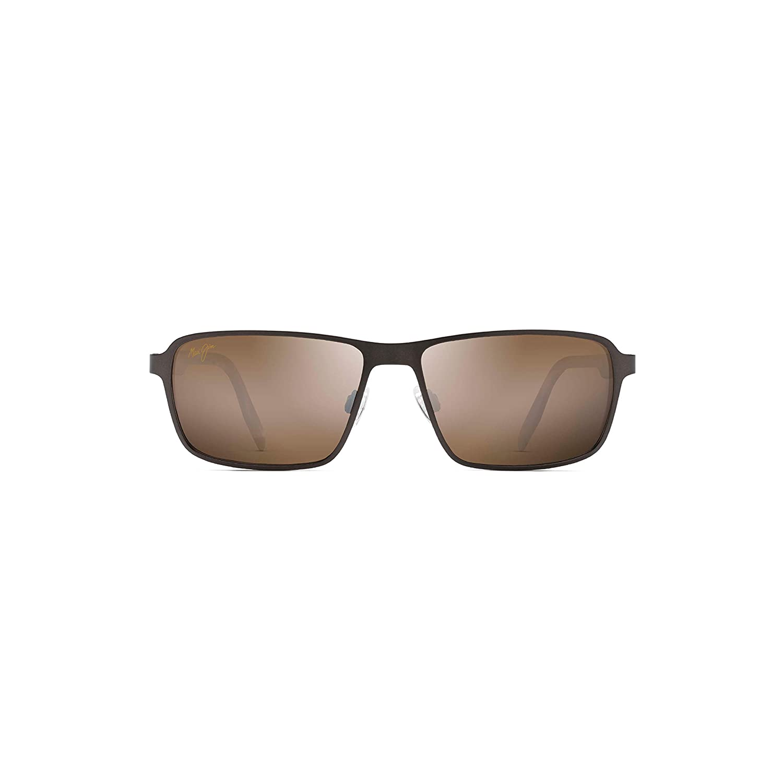 7316191b0ace Amazon.com: Maui Jim Glass Beach H748-01M | Polarized Matte Chocolate  Rectangular Frame Sunglasses, HCL Bronze Lenses with Patented  PolarizedPlus2 Lens ...