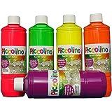 Encre, Peinture textile fluo, Lot de 5x 500 ml - Jaune Orange Rose Vert Violet - Peinture fluorescente pour tissus ou soie visible dans le noir