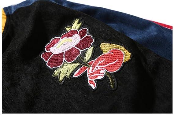 CFDS Chaqueta Hombre Veste Jaqueta Masculina Chaquetas Hombre Rose Broderie Blousons Aviateur Hommes Streetwear Ouest Hip Hop Jaquetas, Multi, ...