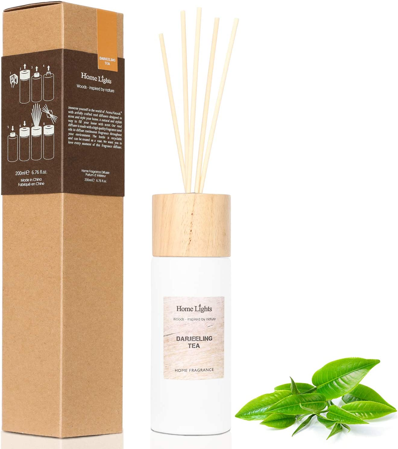 Home Lights Reed Diffuser Gift Set, Wooden Lid, Natural Scented Long Lasting Darjeeling Tea Fragrance Oil for Home Office Gift Idea, Aromatherapy Air Freshener and Stress Relief, 200ml/6.76 fl.oz