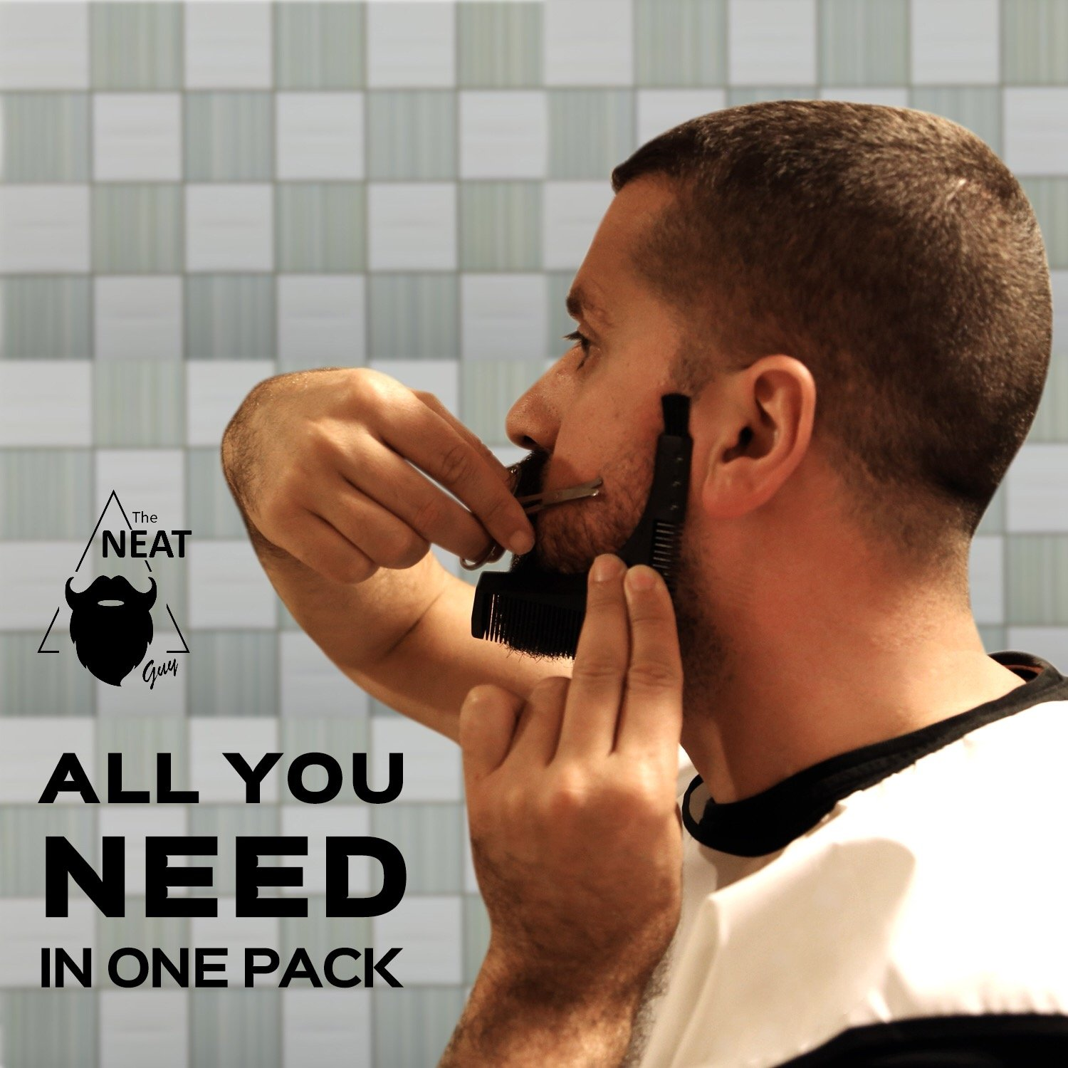 The Neat Guy 6-PACK Beard Kit with Beard Apron/Bib for Mess-Free Shaving + Shaping Tool + Comb + Scissor + Bag, All you Need for a Good, Clean Shave, The Perfect Gift by The Neat Guy (Image #3)
