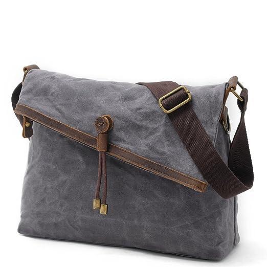 Ruimeinian 9121 Vintage Waxed Canvas Messenger Bag for Men   Women (Grey) 75958bbc31721