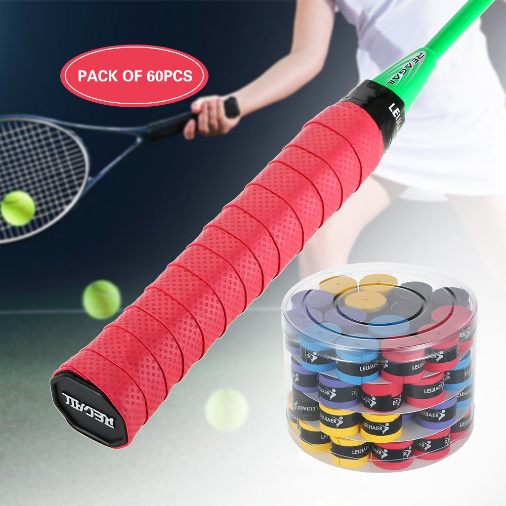 Lixada Pack of 9pcs Tennis Racket Overgrips Anti-Skid Sweat Tape Wraps Badminton Racquet Over Grip Fishing Rod Sweat Band Grip