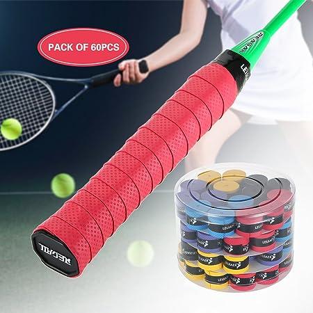 Lixada Raqueta Grip de Tenis/ Badminton Anti Slip Absorbente Sobregrip(60pcs): Amazon.es: Deportes y aire libre