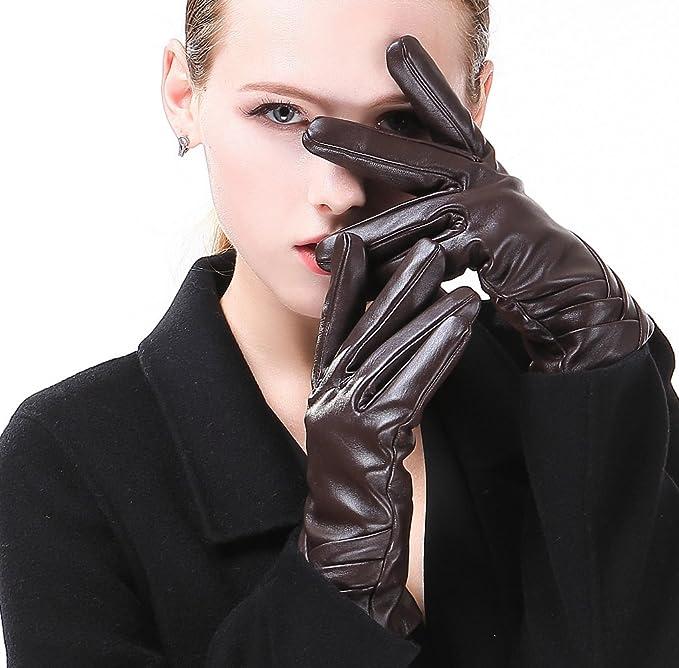 Damen Echt Leder Handschuhe Gefüttert Gr S 6,5 M 7 L 7,5 XL 8 XXL 8,5  //104