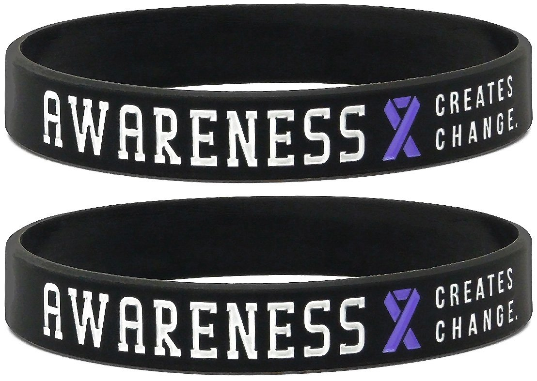 Inkstone (12-pack) Purple Awareness Ribbon Silicone Wristbands - Wholesale Pack of 1 Dozen Bracelets