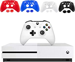 Microsoft Xbox One S 1TB Console - White - with 1 Xbox Wireless Controller - 4K Ultra Blu-ray and 4K Video Streaming - Family Home Christmas Holiday Gaming Bundle - iPuzzle 2 Colors Silicone Cover