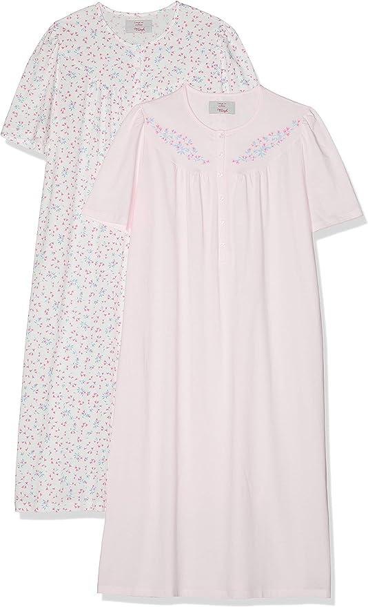 16 /& 20 Triumph en coton à manches courtes chemise de nuit Blanc Floral Tailles 38 /& 42