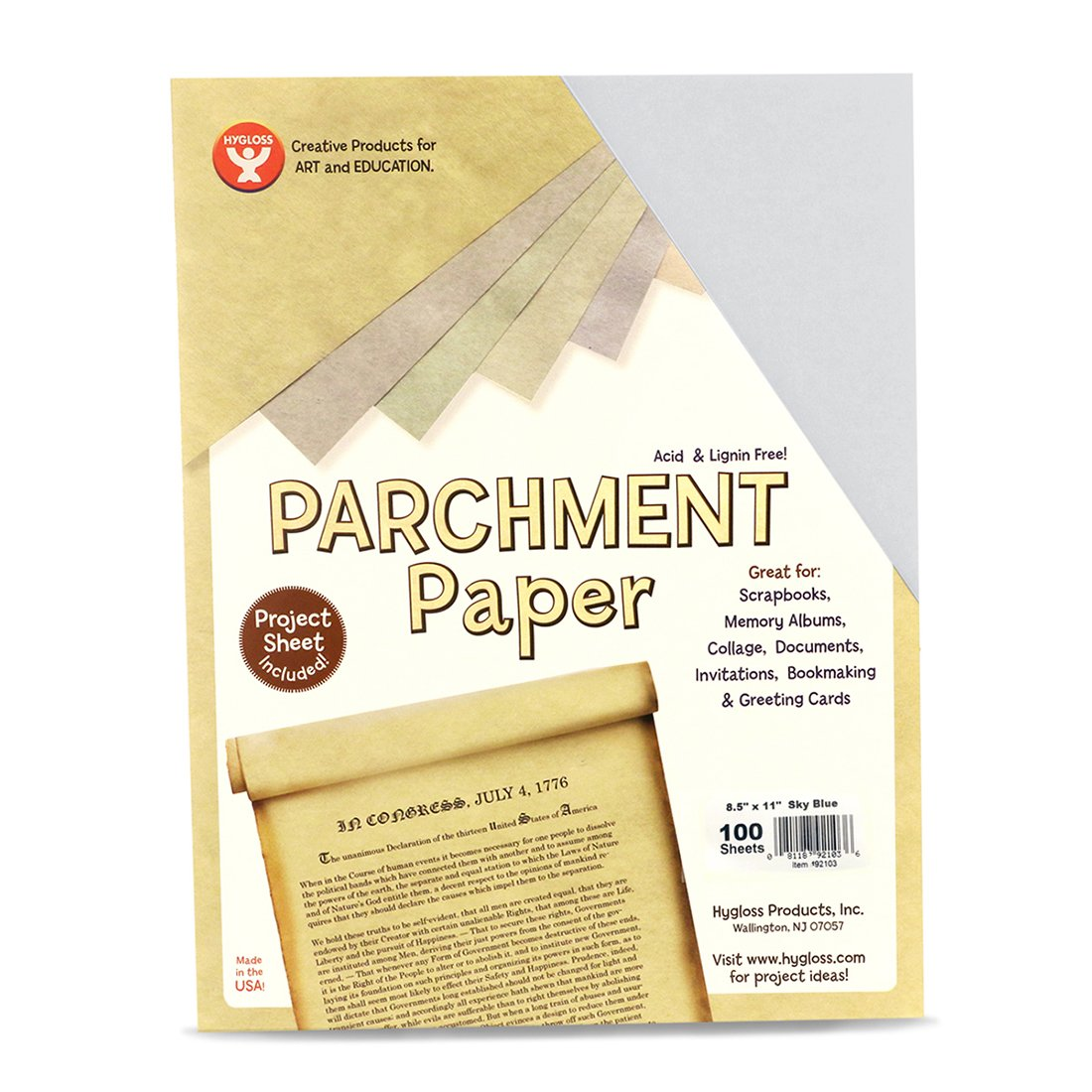 Hygloss Products Craft Parchment Paper Sheets - Printer Friendly, Made in USA - 8-1/2 x 11 Inches, Gold, 30 Pack 92306