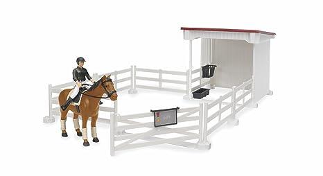 BRUDER Spielzeug bworld Pferdezaun Koppel weiß Pferde Bauernhof Zubehör 62502 Kleinkindspielzeug