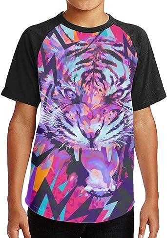 A Ferocious Tiger Summer Round Collar Short Sleeve Child Tee Shirt