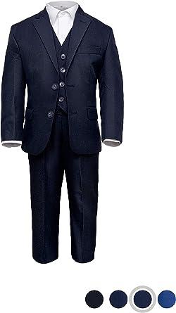 Märchenburg® 4 TLG. Traje Festivo para niño, Chaqueta, Chaleco, pantalón y Camisa en Azul Oscuro para comunión, confirmación, Boda, Fiesta Azul Oscuro 152 cm: Amazon.es: Ropa y accesorios