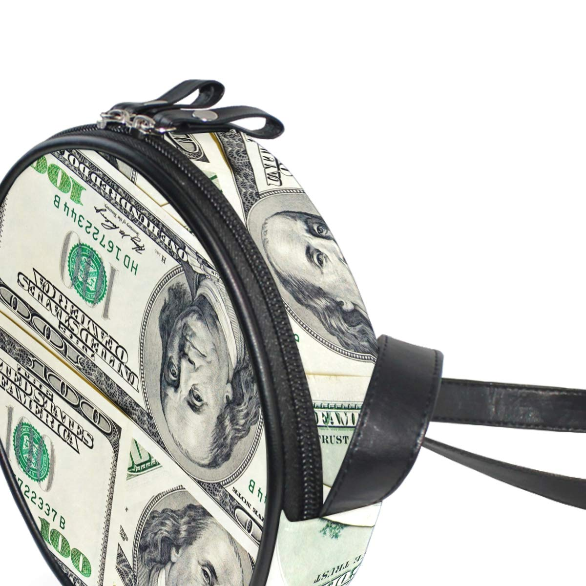 Close-Up Money Dollars Small Round Canvas Crossbody Messenger Bags for Women