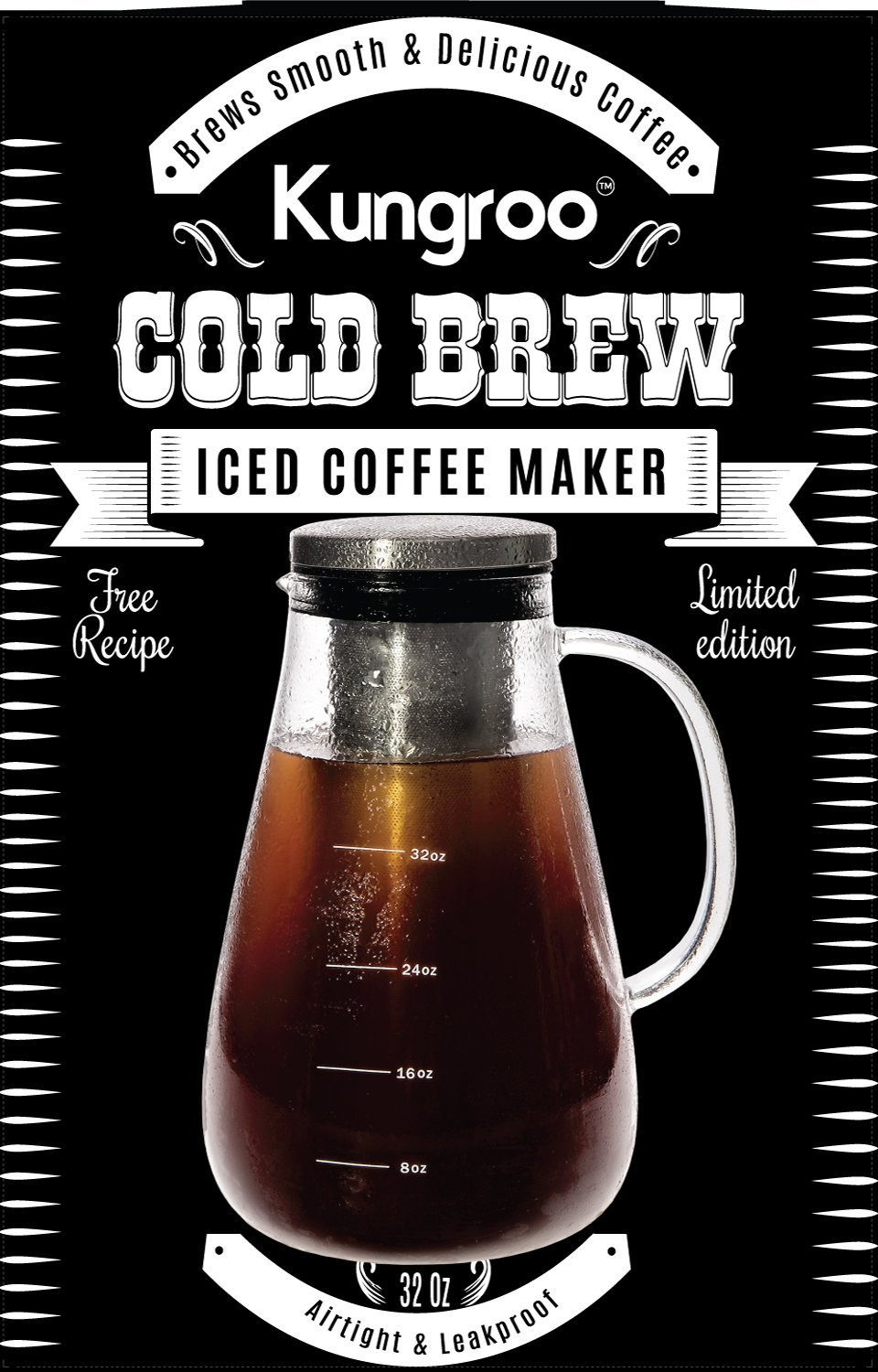 Kungroo Airtight Glass Cold Brew Iced Coffee Maker Pitcher Pot, 1 Quart