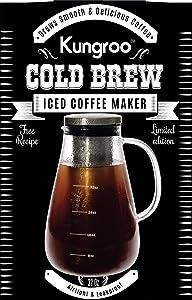 Kungroo Airtight Glass Cold Brew Iced Coffee Maker Pitcher Pot, 1 Quart