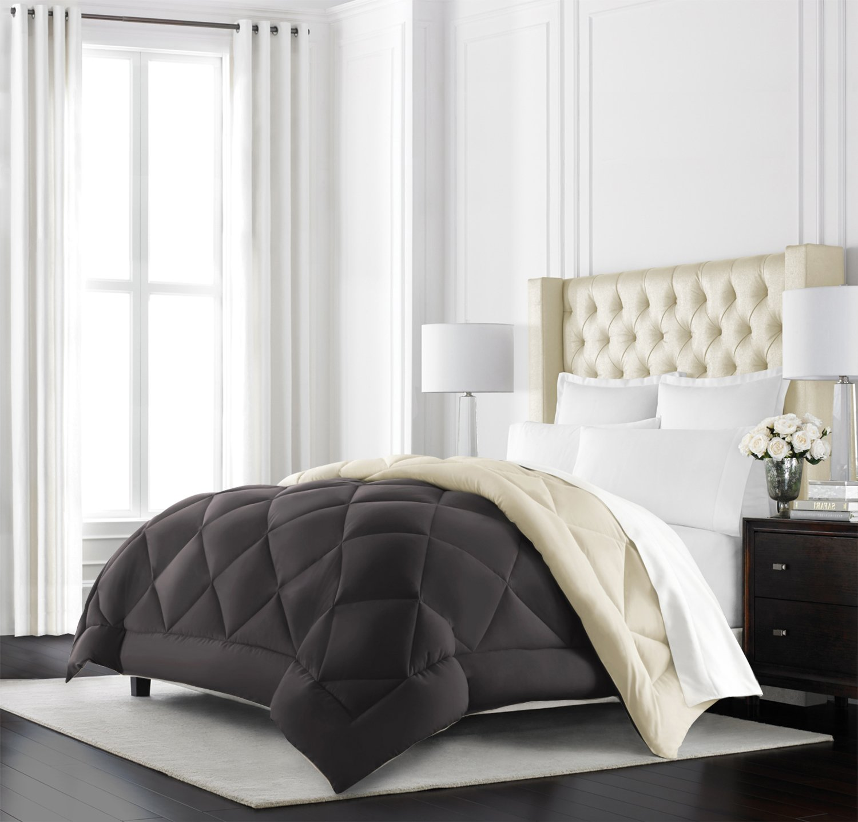 Beckham Hotel Collection Goose Down Alternative Reversible Comforter - All Season - Premium Quality Luxury Hypoallergenic Comforter - Full/Queen - Brown/Cream