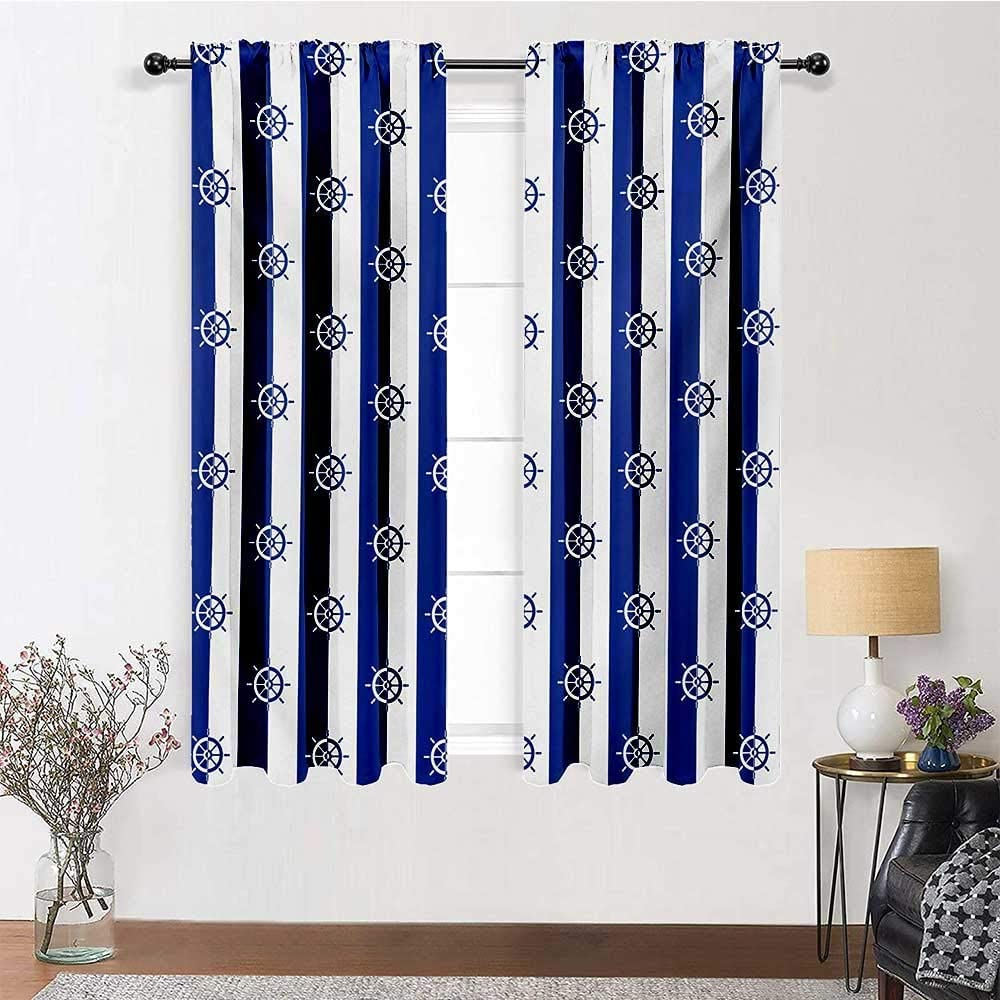 """Interestlee Curtains Blackout Ships Wheel for Gathering Room Sailor Stripes Breton with Silhouettes of Ships Wheels Classic Artwork 2 Panels 55"""" x 45"""" Royal Blue White"""