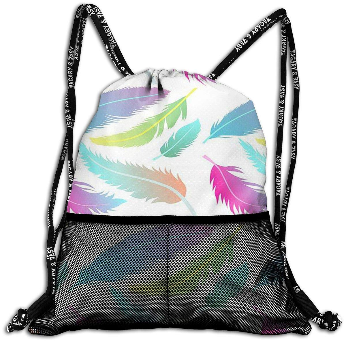 Xukmefat Colorful Feather Durable Sport Drawstring Backpack for School Soccer Yoga