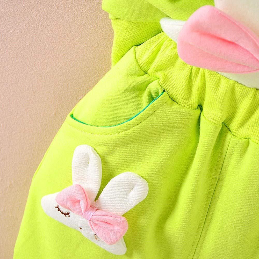 XUANOU Toddler Baby Girl Long Sleeve Rabbit Print Hooded Pullover Tops Solid Pan