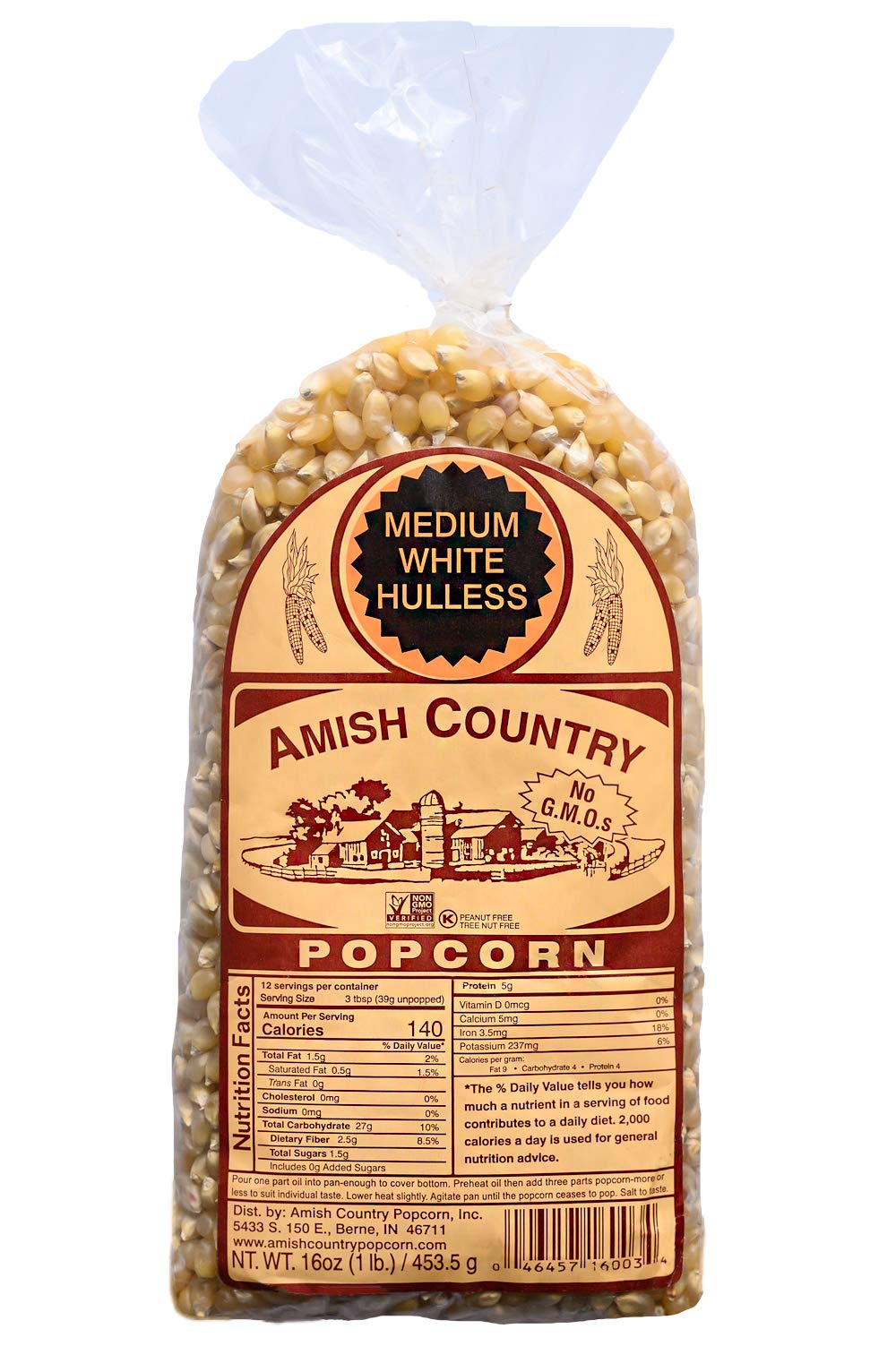 Amish Country Popcorn - Medium White Kernels (1 Pound Bag) - Old Fashioned, Non GMO, Gluten Free, Microwaveable, Stovetop and Air Popper Friendly - Recipe Guide by Amish Country Popcorn