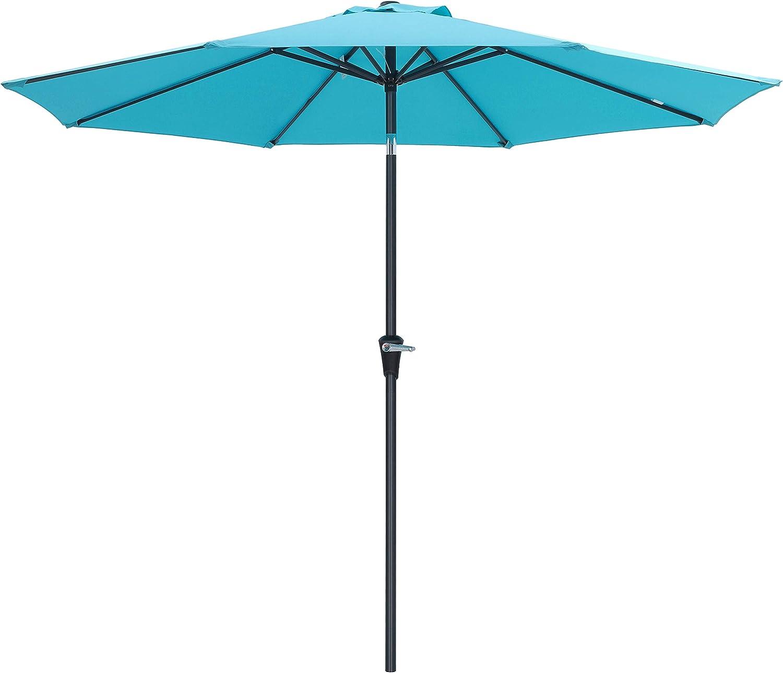 SONGMICS 9 Feet Patio Umbrella, Outdoor Table Umbrella, Sun Shade, Octagonal Polyester Canopy, with Push Button Tilt and Crank Mechanism – for Gardens, Balcony and Terrace Turquoise UGPU09JU