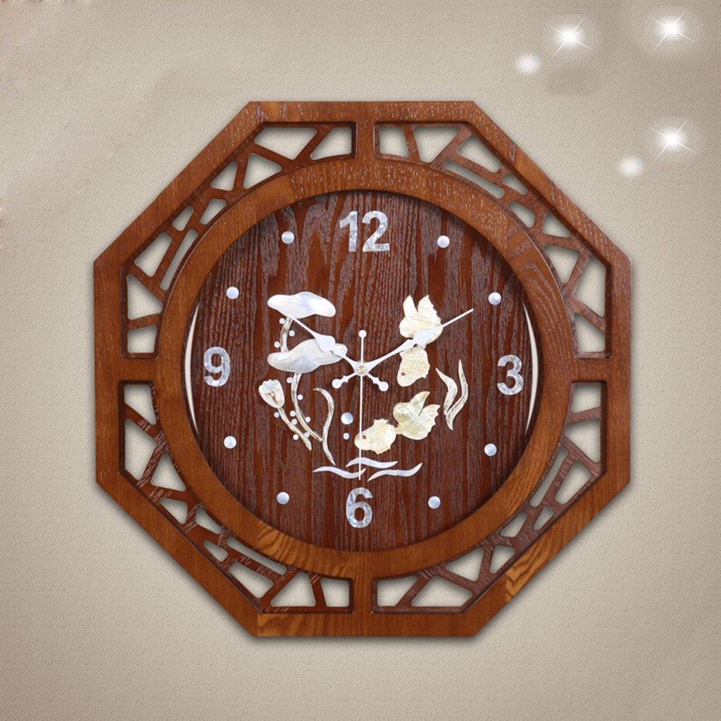 20インチソリッドウッドリビングルームウォールクロックカラーシェル木製中空寝室ミュート装飾的な壁チャート44 Cm * 44 Cm B07CSR1PP6