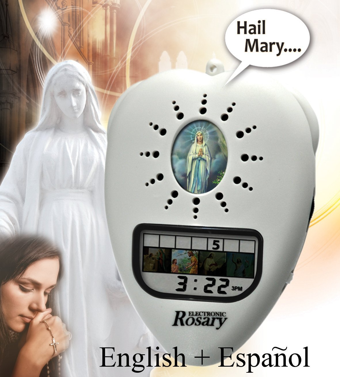 Electronic Rosary E-Rosary Digital Voice Talking (White)