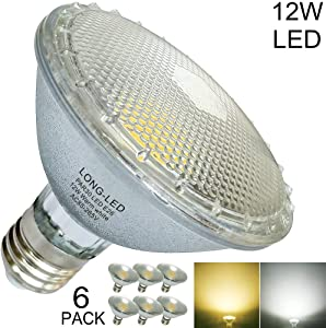 Short Neck Classic Glass PAR30 LED Bulb Flood Light 12W=60W-100W Halogen Bulb Equivalent,LED PAR30 Warm White/Soft White Light 2700K-3000K,E26,120V Non- Dimmable,Indoor/Outdoor,Waterproof,60-Degree