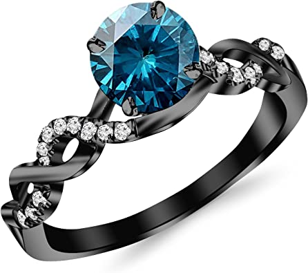 0 63 Carat 14k Black Gold Twisting Infinity Gold And Diamond Split Shank Pave Set Diamond Engagement Ring With A 0 5 Carat Blue Diamond Center Heirloom Quality Amazon Com