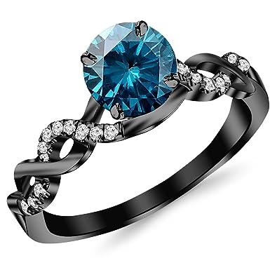 063 Carat 14K Black Gold Twisting Infinity Gold and Diamond Split