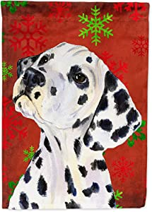 Caroline's Treasures SS4699GF Dalmatian Red and Green Snowflakes Holiday Christmas Flag Garden Size, Small, Multicolor