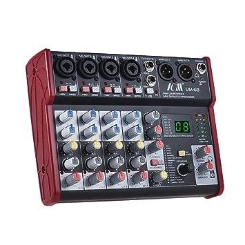 ammoon Mezclador de consola 6 canales Mezcla de tarjeta de ...