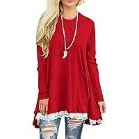 39f6ed8db2f Sanifer Women Lace Long Sleeve Tunic Top Blouse