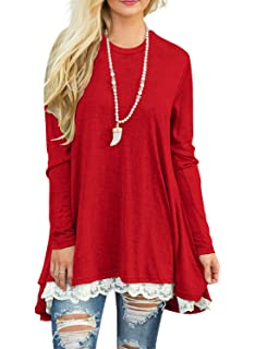 9df94c2a9a2a Sanifer Women s Lace Splicing 3 4 Sleeve Scoop Neck Tunic Tops Long ...