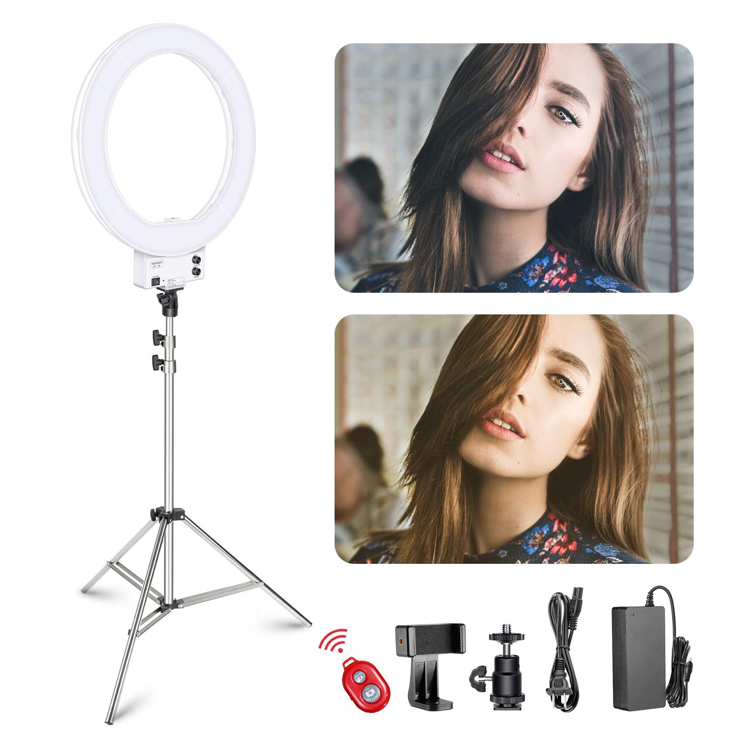 Neewer 18-inch White LED Ring Light with Silver Light Stand Lighting Kit Dimmable 50W 3200-5600K with Soft Filter, Hot Shoe Adapter, Cellphone Holder for Make-up Video Shooting by Neewer
