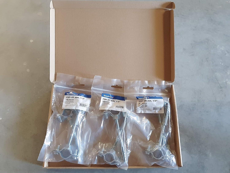 2 Soportes met/álicos para tubos Clips Abrazaderas para tubos /Ø 20-25 mm Paquete de 2 uds.