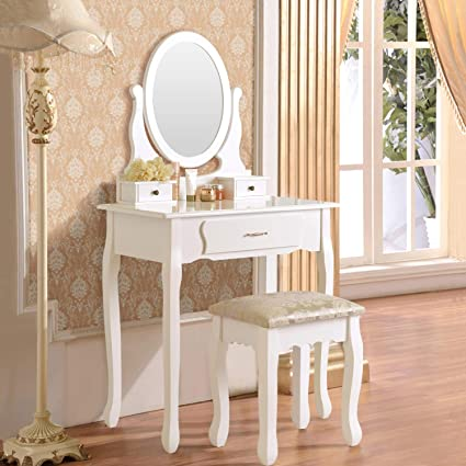 Makeup Vanity Table Set, Mecor Solid Wood Dressing Table Mirror With 3  Drawers,Bedroom