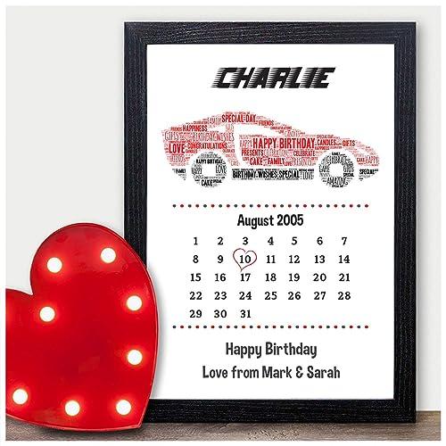 Personalised Car Gifts For Men Boys Him Boyfriend Teenagers ANY Birthday Calendar Date Print 10th 13th 16th 18th 21st 30th 40th Son