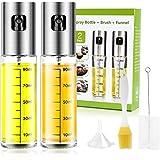 Oil Sprayer for Cooking 2 Pack, JOMARTO 100ml Olive Oil Spray Mister Set Glass Oil Bottle with Measurements Refillable…