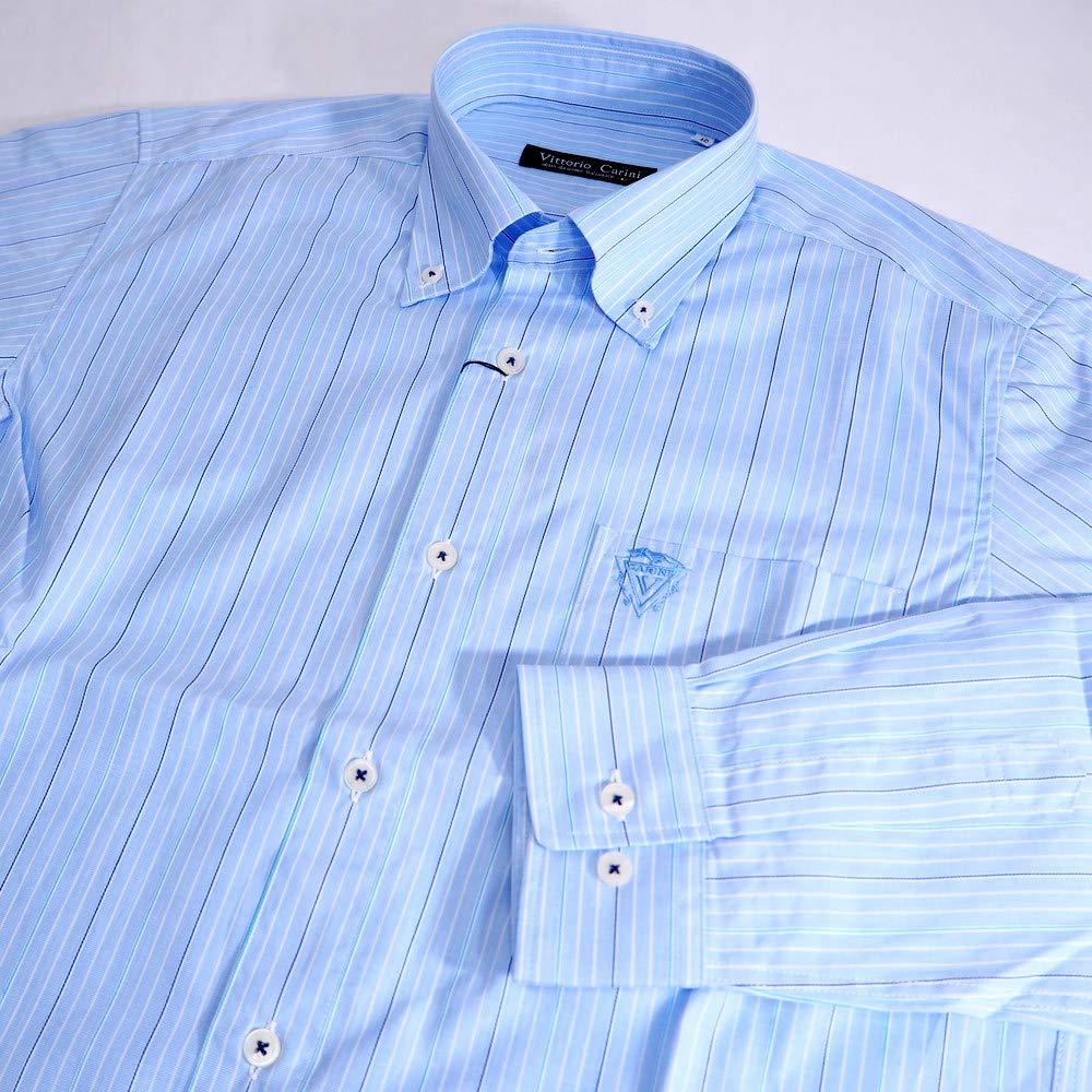 50133 Vittorio Carini 日本製 ボタンダウンシャツ 長袖 ライトブルー 46(M) サイズ 日本製 メンズ カジュアル 男性 春夏 ゴルフ 通販   B07NY4X848