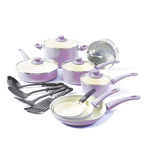GreenLife CC001792-001 Soft Grip 16 Piece Ceramic Non-Stick Cookware Set