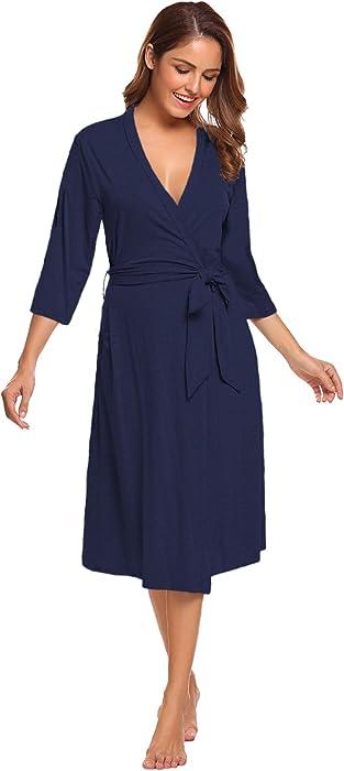 Sweetnight Womens Robe Cotton Robe Gowns Soft Kimono Robes Knit Bathrobe  Comfort Sleepwear Loungewear Long ... ae902e0b8
