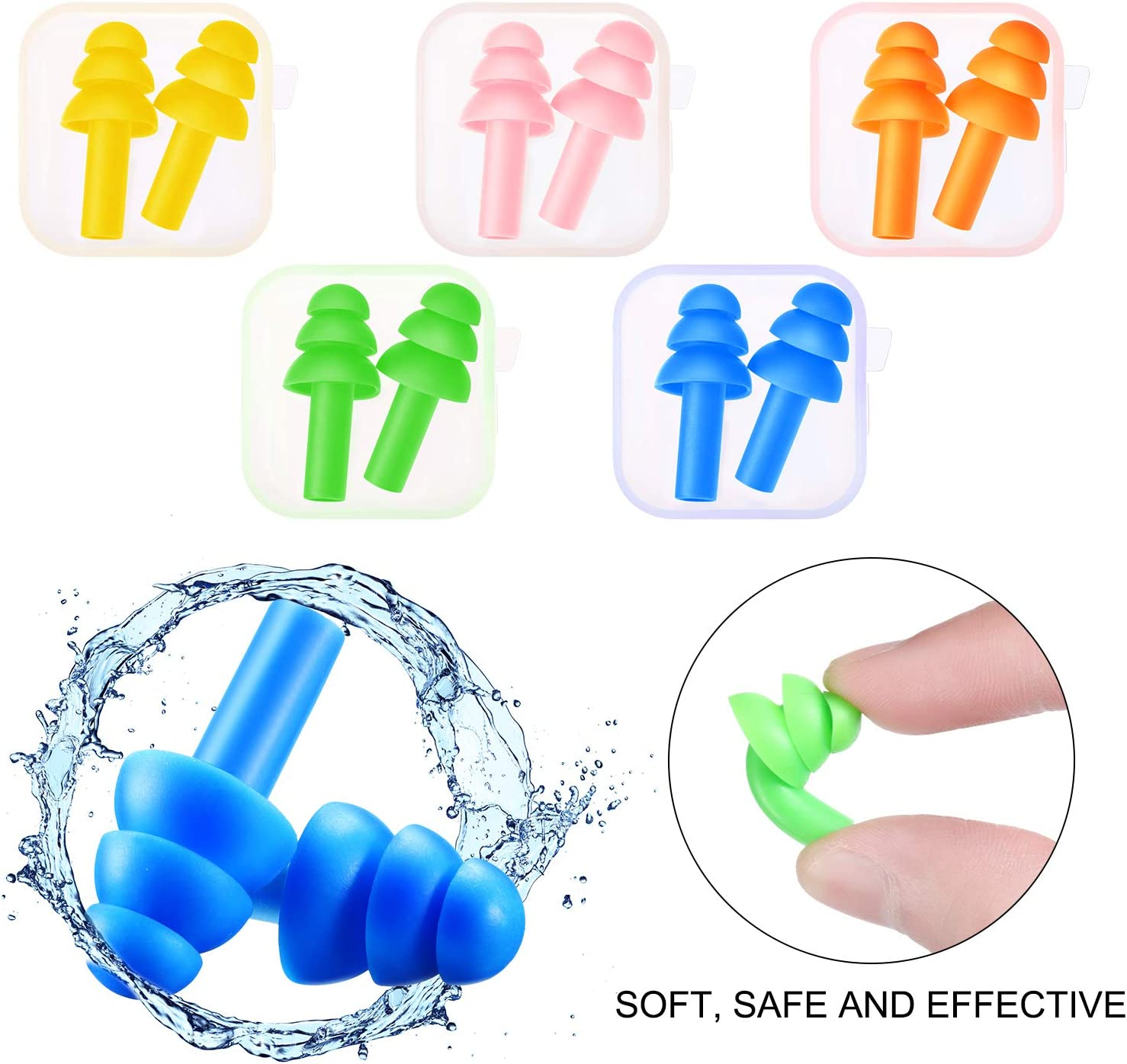 5 Colors 5 Pairs Reusable Silicone Ear Plugs Soft Waterproof Noise Reduction Earplugs Sound Blocking Earplugs with Case and Pouch for Sleeping Swimming Concert Airplanes