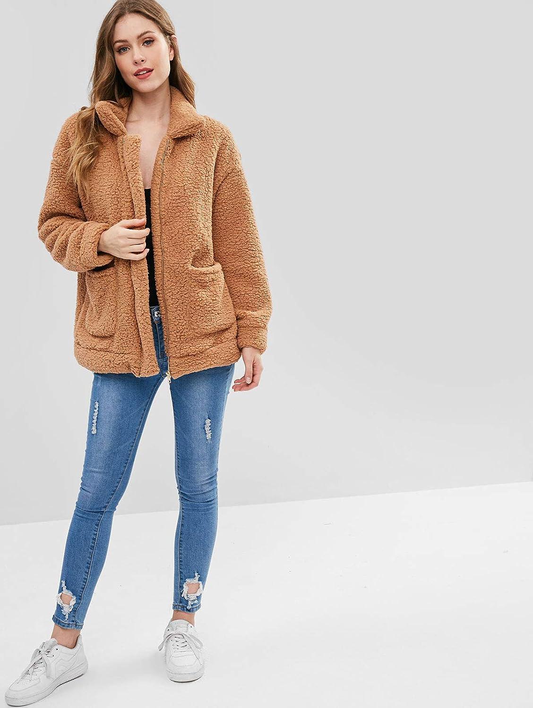 20c486a251 ZAFUL Women Faux Fur Winter Coat Zip Up Fluffy Cardigan Jacket:  Amazon.co.uk: Clothing