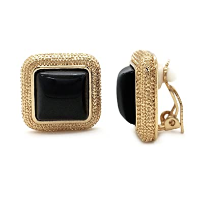 14877b2072b Black Clip On Earrings Square Beaded Gold Plated Women Fashion