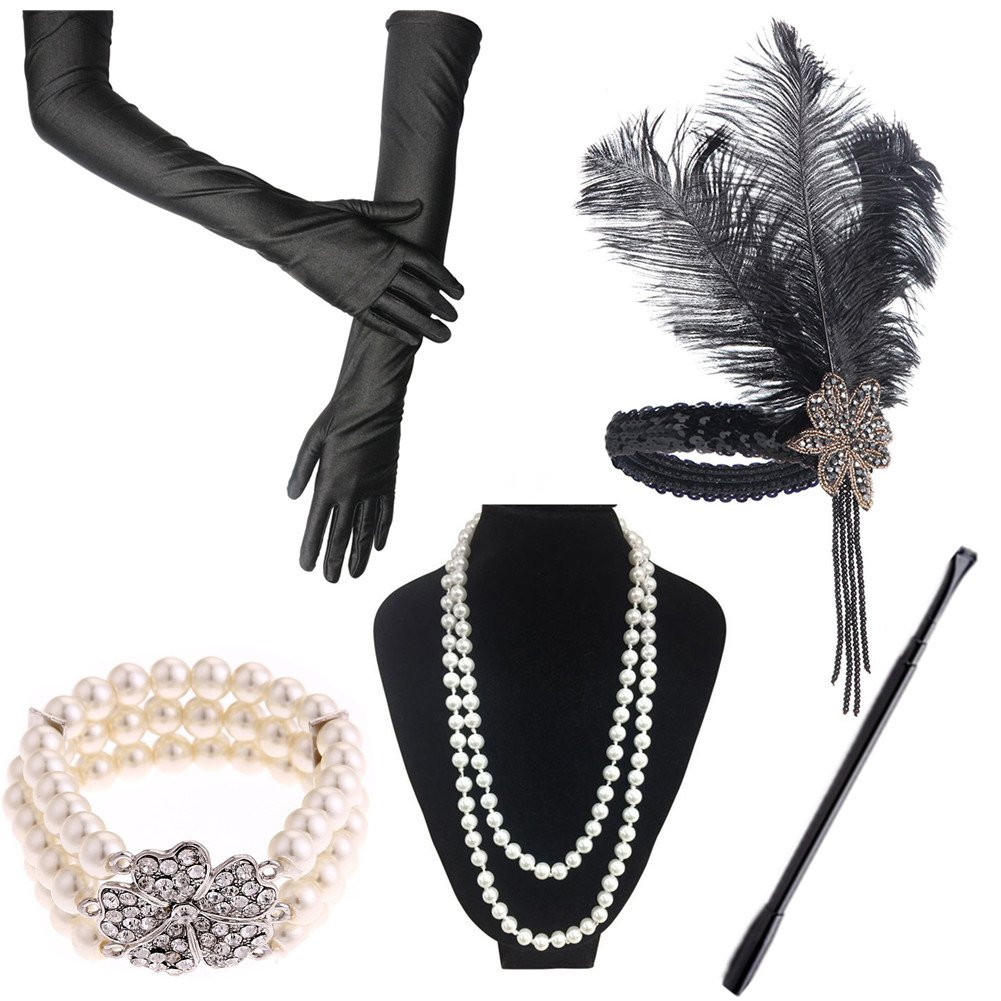 de48d8646 Roaring 20's accessory set comes 5 in 1. Black long gloves, flapper  headpiece, pearl necklace and bracelets, long cigarette holder. 2. One size  fits all.