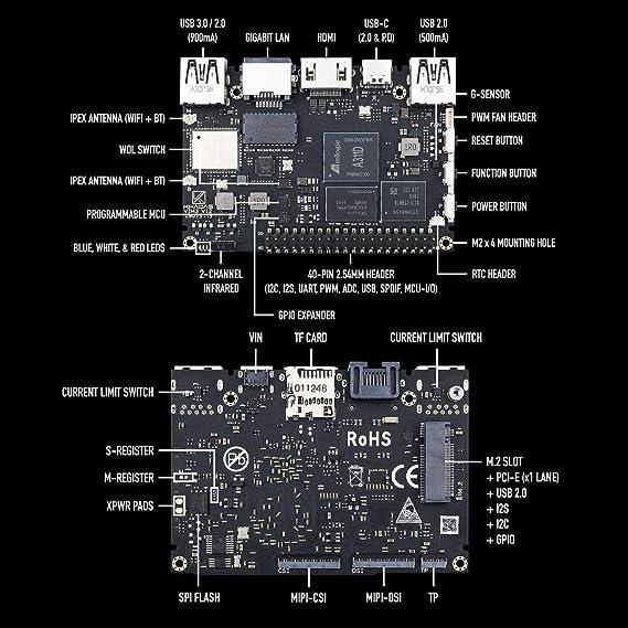 Khadas VIM3 Basic computadora de una sola placa SBC Amlogic A311D con 5.0 Tops NPU AI tensorflow x4 Cortex-A73 x2 A53 núcleos SBC Android Linux: Amazon.es: Electrónica