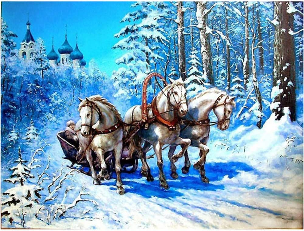 5D Cross Stitch Embroidery Mosa\u00efque Peinture Diamant Horse and Pony with Winter Snowman Rhinestone  Mosaic DIAMOND PAINTING by Numbers KIT