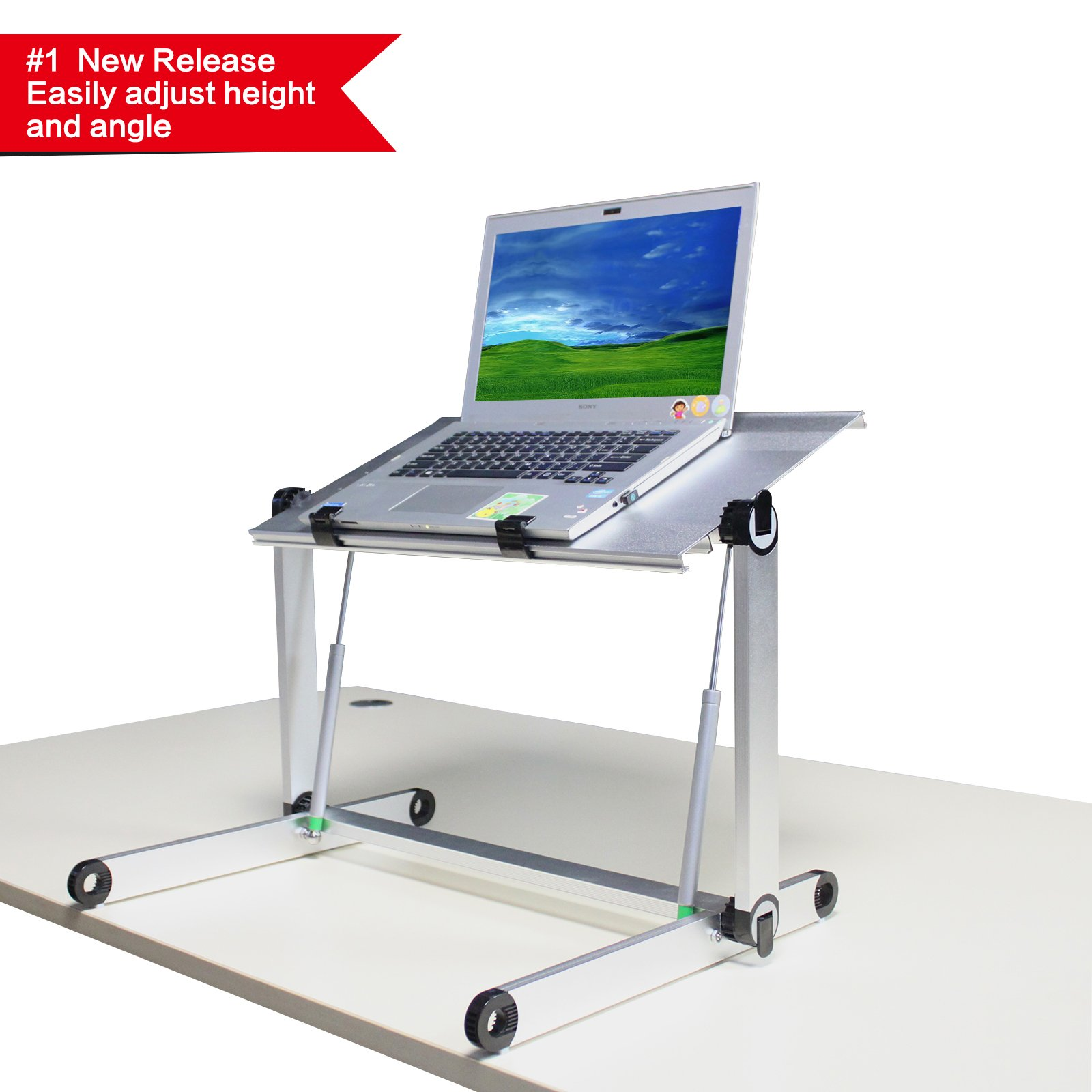 Rxmoo Standing Sitting Table Adjustable Height Sit Stand Desk/Table Computer Folding Desk Laptop desk/Table (Silver)